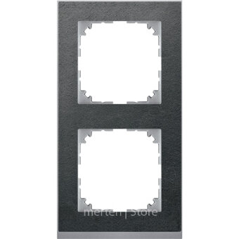 MTN4020-3669 - MERTEN M-Pure Decor РАМКА 2 поста б/перегородки, СЛАНЕЦ/АЛЮМИНИЙ, SM